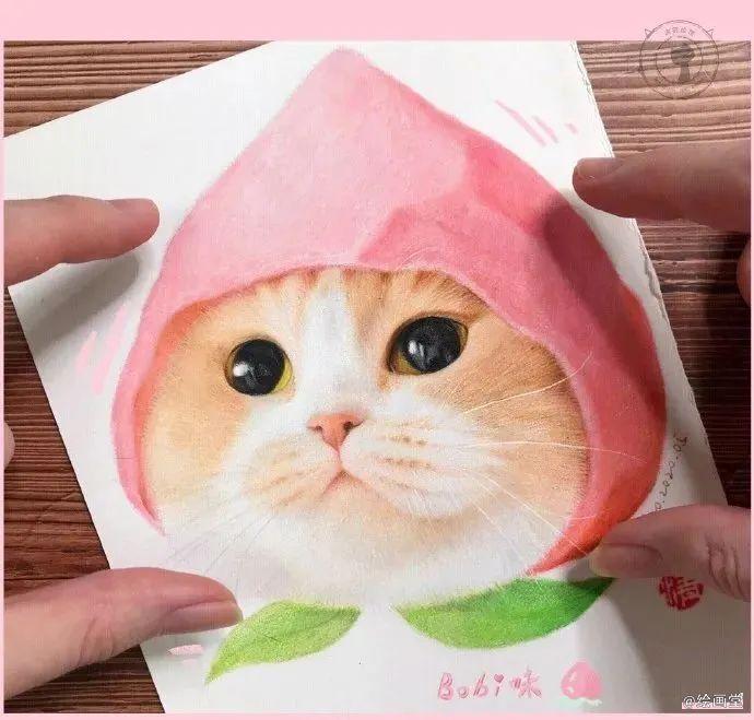 彩铅可爱猫咪画法步骤图!